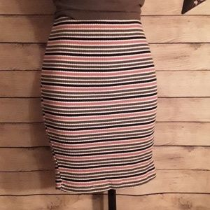 Striped Knit Stretch Tube Skirt